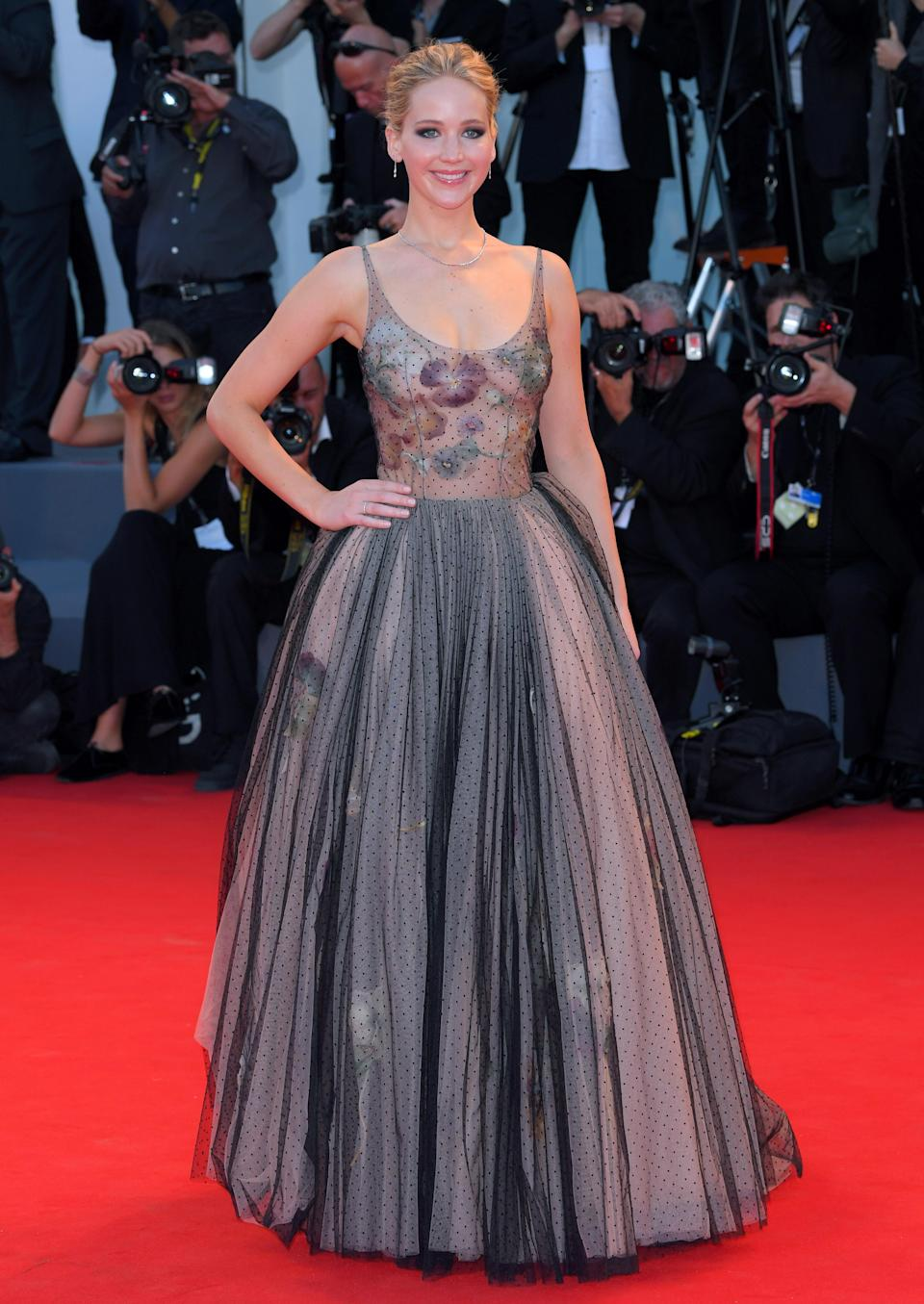 <p>Jennifer works Dior like no other, choosing one of the French house's sheer ballgowns to wow the crowds at the Venice Film Festival.<br><i>[Photo: Rex]</i> </p>