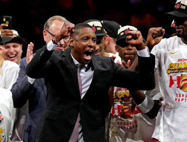 Jun 13, 2019; Oakland, CA, USA; Toronto Raptors president Masai Ujiri celebrates after the Toronto Raptors beating the Golden State Warriors in game six of the 2019 NBA Finals at Oracle Arena. Mandatory Credit: Kyle Terada-USA TODAY Sports