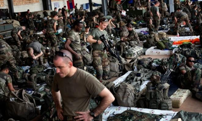 French troops gather in a hangar at the airport in Bamako, the capital of Mali, Jan. 15.