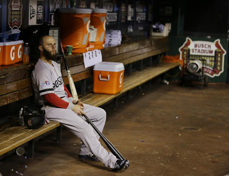Boston Red Sox second baseman Dustin Pedroia sits in the team's dugout before Game 4 of baseball's World Series between the St. Louis Cardinals and the Boston Red Sox, Sunday, Oct. 27, 2013, in St. Louis. (AP Photo/Matt Slocum)