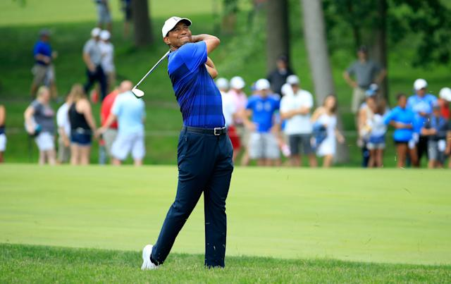 "<a class=""link rapid-noclick-resp"" href=""/pga/players/147/"" data-ylk=""slk:Tiger Woods"">Tiger Woods</a> holed out for an eagle on No. 11 on Friday at the Memorial Tournament at Murifield Village in Dublin, Ohio. The crowd, naturally, went crazy. (Getty Images)"