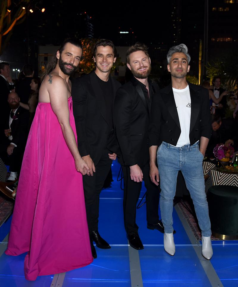 LOS ANGELES, CALIFORNIA - SEPTEMBER 15: (L-R) Jonathan Van Ness, Antoni Porowski, Bobby Berk and Tan France attend the 2019 Netflix Creative Arts Emmy After Party at Hotel Figueroa on September 15, 2019 in Los Angeles, California. (Photo by Presley Ann/Getty Images for Netflix)