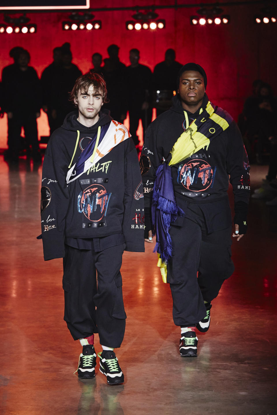 Lennon Gallagher walks the runway at the Tommy Hilfiger show during London Fashion Week. (Tommy Hilfiger)