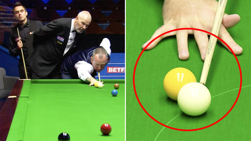 Mark Williams (pictured left) taking a shot in snooker and (pictured right) nudging the yellow ball.