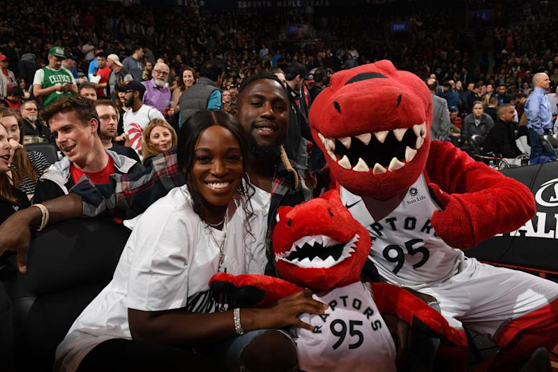 TORONTO CANADA- APRIL 4 Sloane Stephens and Jozy Altidore attend the game between the Boston Celtics and the Toronto Raptors