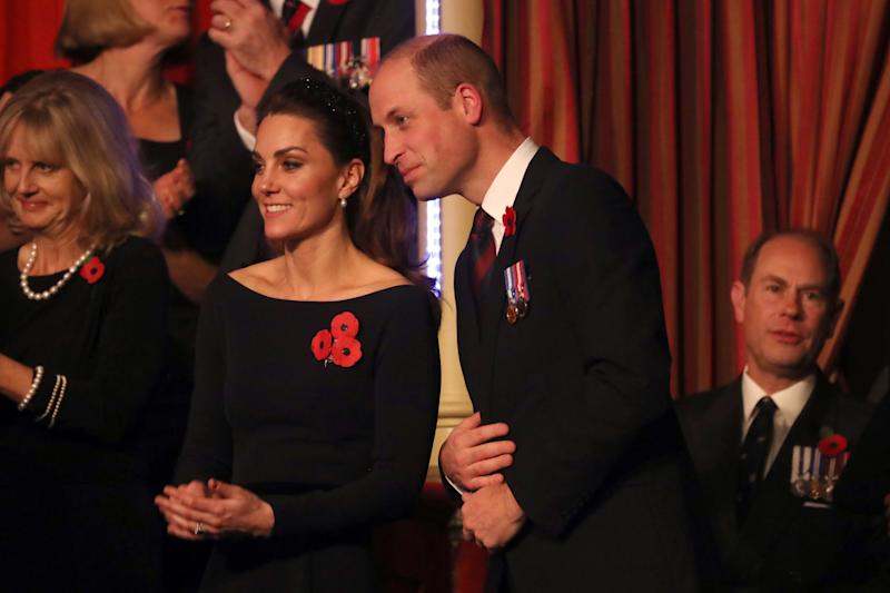 The Duke and Duchess of Cambridge attend the annual Royal British Legion Festival of Remembrance at the Royal Albert Hall in Kensington, London.