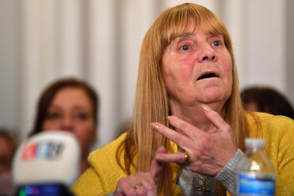 Margaret Aspinall, representing family members, survivors and campaigners for the victims of the Hillsborough Disaster speaks during a press conference in Liverpool, north-west England on Novermber 28, 2019, after David Duckenfield's no guilty verdict was delivered in Preston earlier in the afternoon. - David Duckenfield, the police commander on duty at the 1989 Hillsborough stadium disaster, was found not guilty November 28, 2019 of the gross negligence manslaughter of 95 Liverpool fans who were crushed to death. (Photo by Paul ELLIS / AFP) (Photo by PAUL ELLIS/AFP via Getty Images)