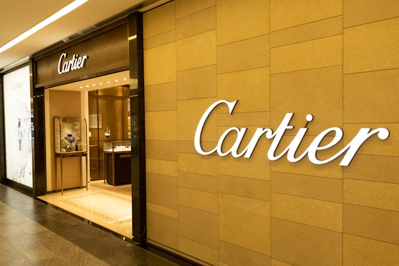 Chiba, Japan - March 24, 2019: View of Cartier front store, French luxury unique collections of fine jewelry, watches, bridal sets, accessories and fragrances, at Narita International Airport, Chiba.