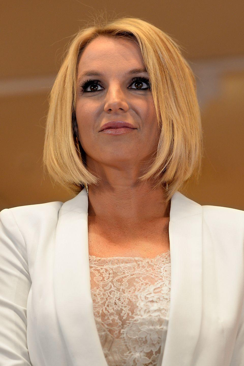 <p>Did Britney enter the Witness Protection Program!? That was my initial thought when I saw this chin-grazing blown out bob. </p>