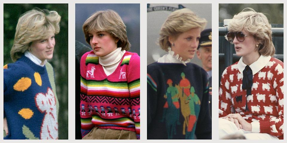 """<p><a href=""""https://www.townandcountrymag.com/style/fashion-trends/g22617779/princess-diana-fashion/"""" rel=""""nofollow noopener"""" target=""""_blank"""" data-ylk=""""slk:Princess Diana wore a lot of things"""" class=""""link rapid-noclick-resp"""">Princess Diana wore a lot of things</a> in her day, many of which were very good. But for all her frilled gowns, skirted suits, and outfit-matching hats, it's in her sweater game that her true fashion genius shines through. She can find the sublime in the tacky, the elegant in the gaudy—an inspiration to us all, as we head further into fall. Below, the Princess of Wales's top ten statement sweaters.</p>"""