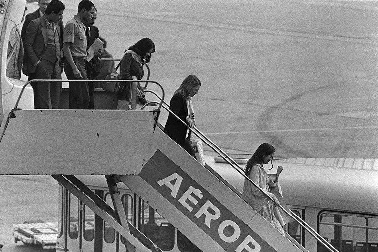 "Hostages released from the US Embassy in Tehran arrive in France on November 20, 1979. Iran's announcement that it will make its own film to counter the ""distorted"" thriller ""Argo"" is fueling a debate about Hollywood and historical accuracy, sparked by Ben Affleck's Oscar-tipped movie"