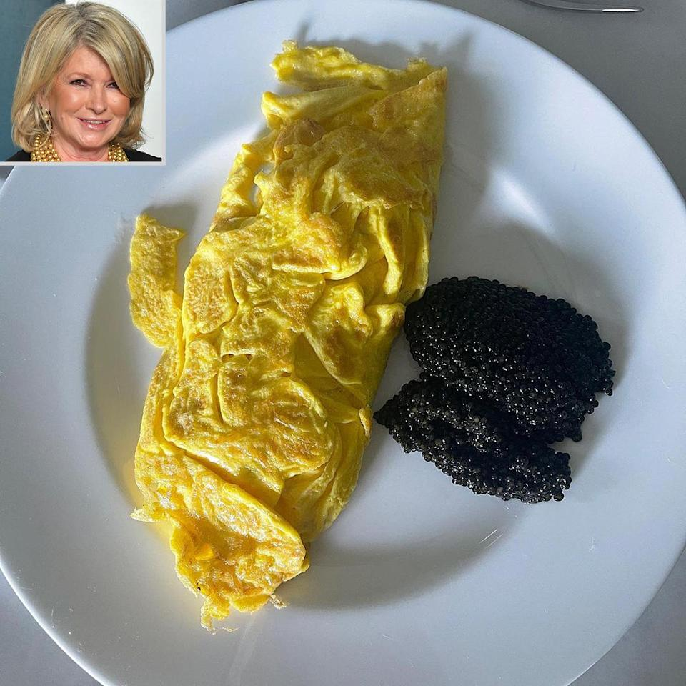 """<p>The domestic diva fueled up before a TV shoot with some eggs and a healthy (read: expensive) serving of caviar. """"One needs sustenance !!"""" she <a href=""""https://www.instagram.com/p/CQJebNItsM9/"""" rel=""""nofollow noopener"""" target=""""_blank"""" data-ylk=""""slk:said"""" class=""""link rapid-noclick-resp"""">said</a>. </p>"""