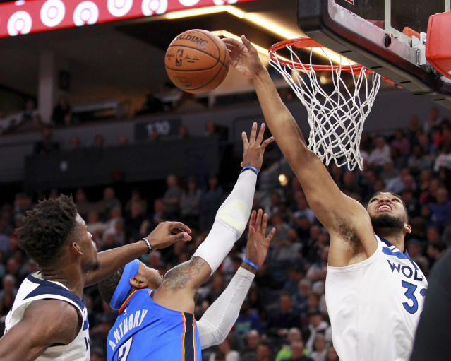 "<a class=""link rapid-noclick-resp"" href=""/nba/players/5432/"" data-ylk=""slk:Karl-Anthony Towns"">Karl-Anthony Towns</a> is showing improvement on the defensive end. (AP)"