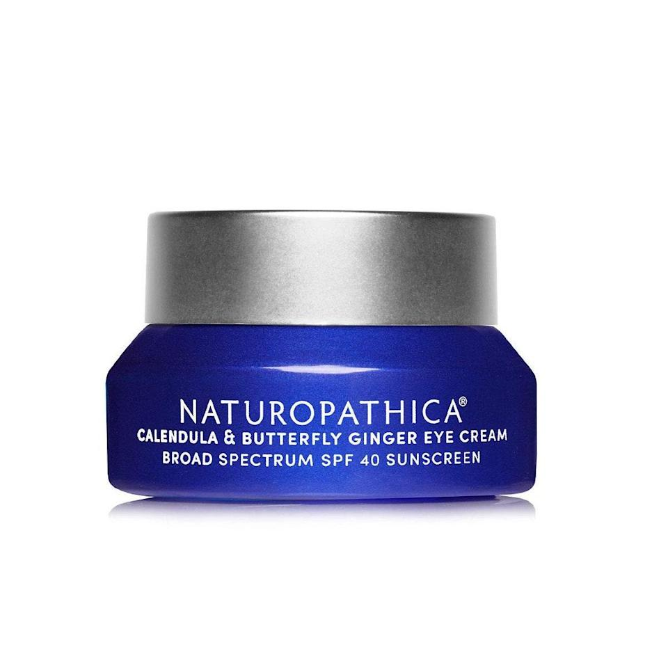 Micronized zinc in Naturopathica's Calendula & Butterfly Ginger Eye Cream blends into a range of skin tones without leaving behind a dreaded white cast. The calendula in the formula works as a potent antioxidant to protect eye skin from environmental damage, and butterfly ginger is what will help you look more awake when you apply the moisturizing formula in the morning.