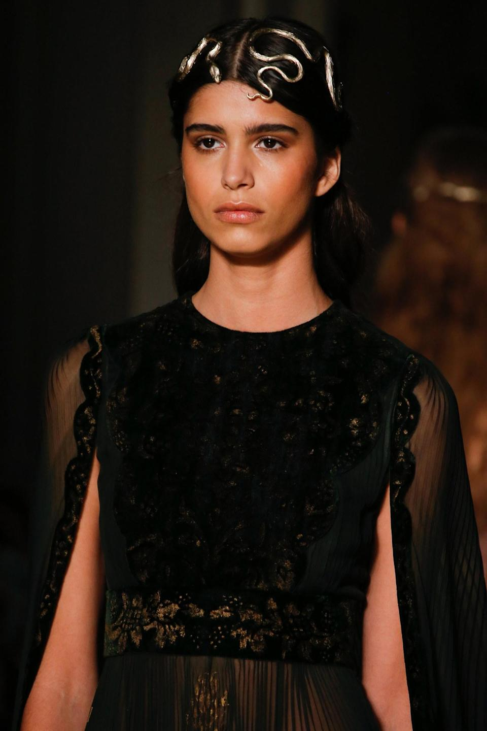 <p>At Valentino there was jewelry everywhere, even golden serpents for the hair. <i>Photos: Imaxtree</i> </p>