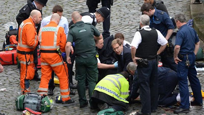 MP Tobias Ellwood remained on the scene providing mouth-to-mouth CPR until paramedics arrived at the scene. Source: AP