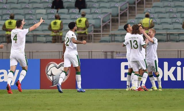 The Republic of Ireland celebrate after scoring their first goal in Azerbaijan