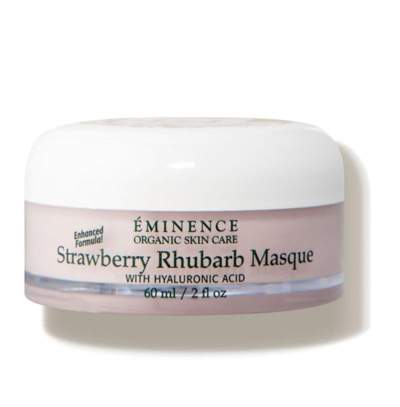 """Hydrating masks (<a href=""https://fave.co/2yHSjdl"" target=""_blank"" rel=""noopener noreferrer"">Eminence Strawberry Rhubarb Masque</a>) often feature a good amount of hyaluronic acid in their formulations."" &mdash; <strong>Mustapich at </strong><strong>Facehaus</strong>. Find it for $54 at <a href=""https://fave.co/2yHSjdl"" target=""_blank"" rel=""noopener noreferrer"">Dermstore</a>."