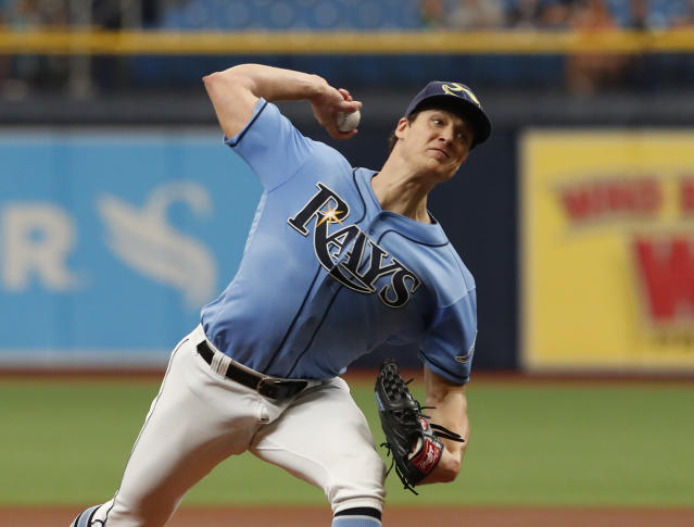 Tampa Bay Rays pitcher Tyler Glasnow works from the mound against the Toronto Blue Jays during the first inning of a baseball game on Sunday Sept. 8, 2019, in St. Petersburg, Fla. (AP Photo/Scott Audette)