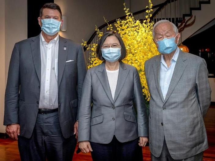 Undersecretary of State Keith Krach (L) met with President Tsai Ing-wen (C, with TSMC founder Morris Chang) during his trip to Taiwan, the second high-level US visit in as many months