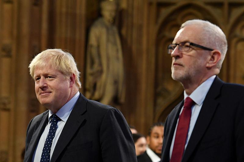 Britain's Prime Minister Boris Johnson and main opposition Labour Party leader Jeremy Corbyn head the procession of members of parliament through the Central Lobby toward the House of Lords to listen to the Queen's Speech during the State Opening of Parliament in the Houses of Parliament in London, Britain October 14, 2019. Daniel Leal-Olivas/Pool via REUTERS