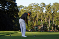 Tiger Woods hits on the sixth fairway during the second round of the Masters golf tournament Friday, Nov. 13, 2020, in Augusta, Ga. (AP Photo/Matt Slocum)