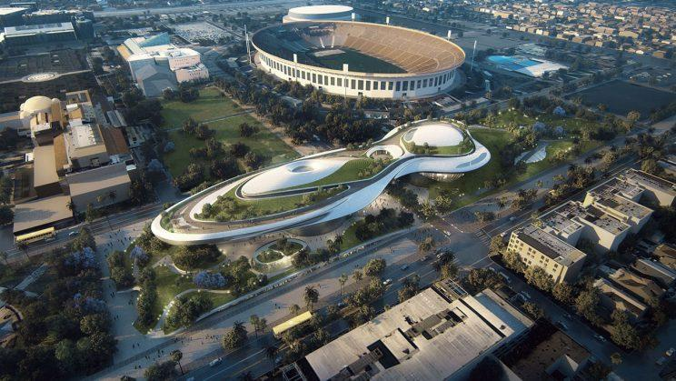Lucas Museum will be situated in Los Angeles' Exposition Park, adjacent to Coliseum and across from Lucas's alma mater, USC (Courtesy of Lucas Museum)