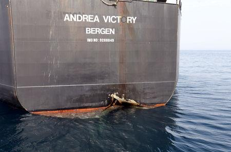 FILE PHOTO: A damaged Andrea Victory ship is seen off the Port of Fujairah, United Arab Emirates