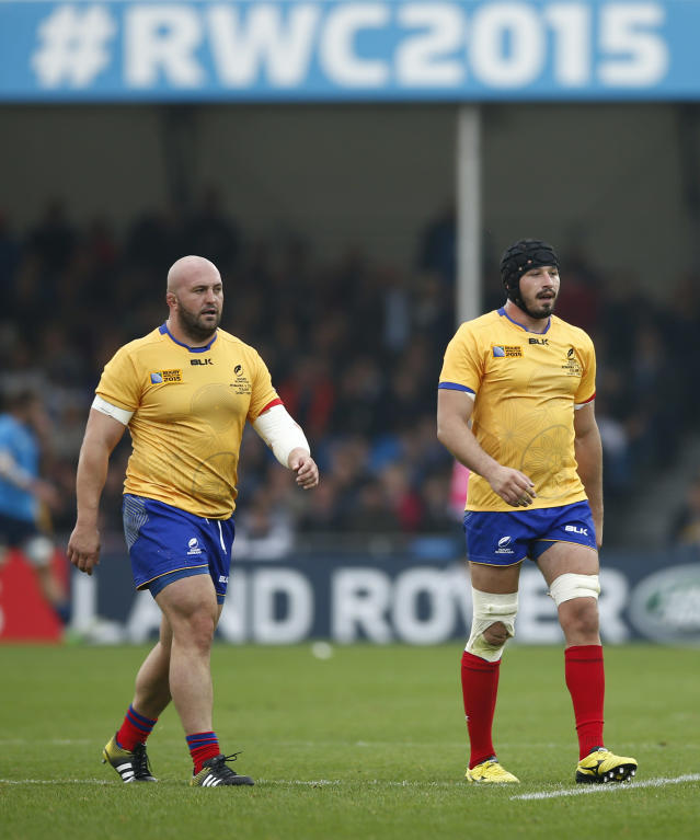 Rugby Union - Italy v Romania - IRB Rugby World Cup 2015 Pool D - Sandy Park, Exeter, England - 11/10/15 Romania's Valentin Poparlan and Horatiu Pungea Action Images via Reuters / Andrew Couldridge Livepic
