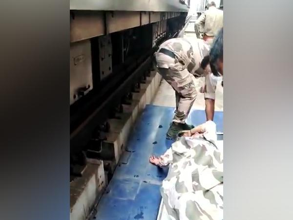 A visual of the lady rescued by CISF