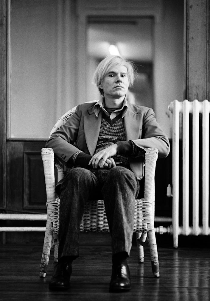 Andy Warhol in his studio, Union Square, New York, 1976.