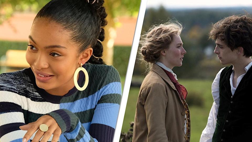 A split-screen image of Yara Shahidi laughing in a still from Grown-ish on the left. On the right is Saorise Ronan and Timothee Chalamet facing each other in period clothing in a still from Little Women.