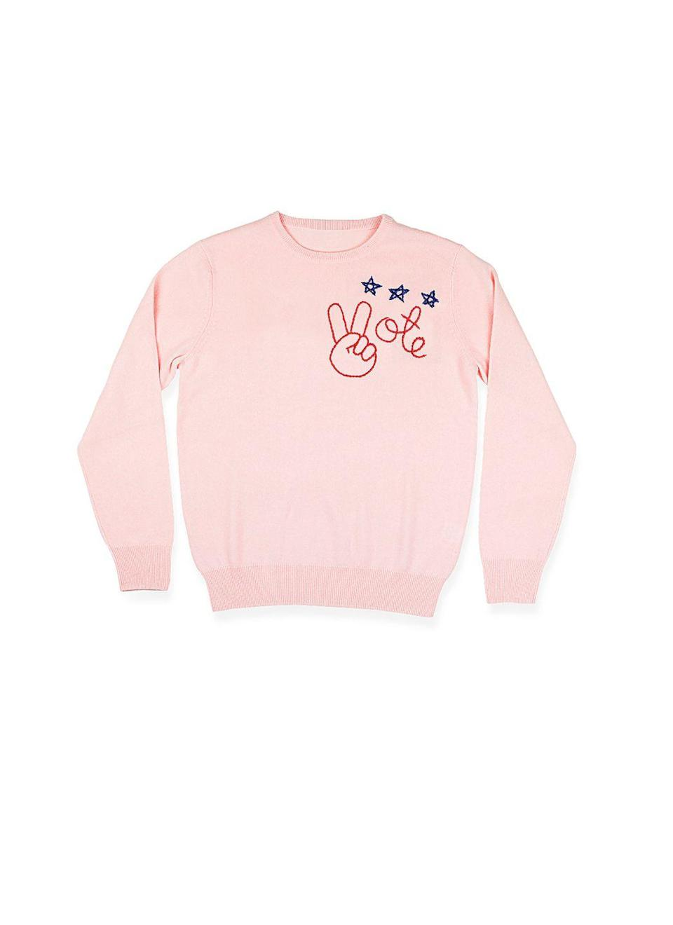 """<p>You can go to the polls in style rocking this hand-embroidered cashmere sweater. And a bonus? The brand is donating 10 percent of sales to <a href=""""https://www.higherheightsforamerica.org/"""" rel=""""nofollow noopener"""" target=""""_blank"""" data-ylk=""""slk:Higher Heights for America"""" class=""""link rapid-noclick-resp"""">Higher Heights for America</a>, which works to strengthen and expand Black women's political presence. </p><p><em>Lingua Franca</em>, $380</p><p><a class=""""link rapid-noclick-resp"""" href=""""https://linguafranca.nyc/collections/i-am-a-voter"""" rel=""""nofollow noopener"""" target=""""_blank"""" data-ylk=""""slk:SHOP NOW"""">SHOP NOW</a></p>"""