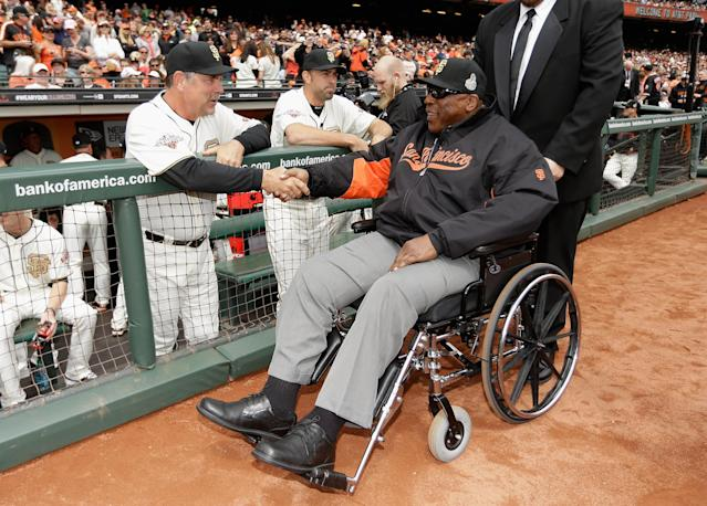 "<a class=""link rapid-noclick-resp"" href=""/mlb/teams/sfo"" data-ylk=""slk:San Francisco Giants"">San Francisco Giants</a> legend and Hall of Fame first baseman Willie McCovey died on Wednesday after a lengthy battle with ongoing health issues. (Getty Images)"