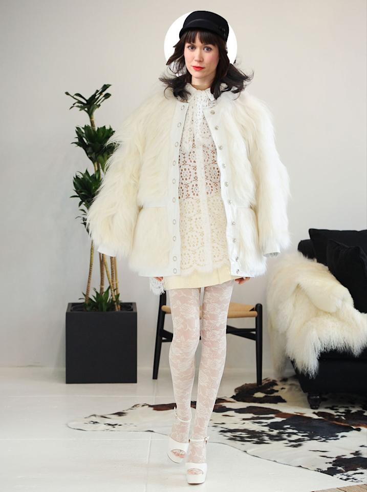"""<p>""""I am not about that poufy tulle life. Or girly stuff in general. Or white, for god's sake (I'm a messy eater). That said, if I'm going to have a white wedding, I might as well do it in this white lace dolly bird dress to fulfill my Carnaby Street circa '66 fantasies. I'm still terrified I'd get hot sauce on the thing.""""<br /></p>"""