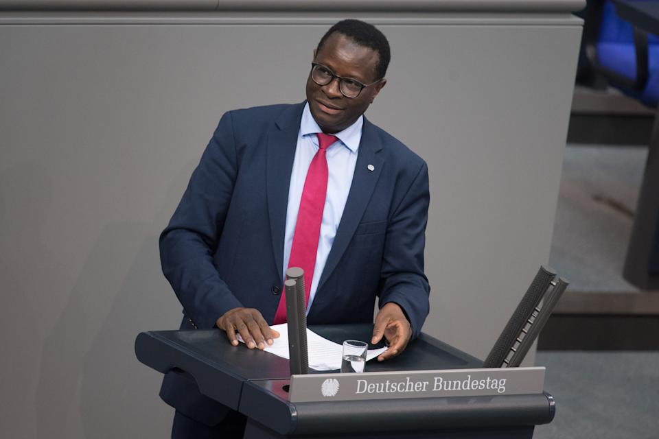 """25 October 2019, Berlin: Karamba Diaby (SPD) speaks at the plenary session of the German Bundestag. The topic is """"state proportional representation at federal authorities"""". Photo: Jörg Carstensen/dpa (Photo by Jörg Carstensen/picture alliance via Getty Images)"""