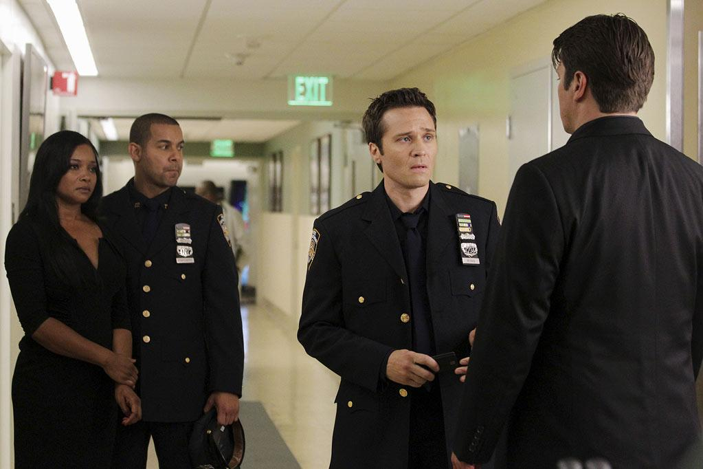 "CASTLE - ""Rise"" - In a riveting opening that picks up just moments after last season's climactic finale, Detective Beckett (Stana Katic) fights for her life as Castle (Nathan Fillion), plagued by guilt over his role in the events, struggles to uncover who's behind her brutal shooting. Meanwhile, back at the precinct, Ryan (Seamus Dever) and Esposito (John Huertas) have to adjust, as Victoria ""Iron"" Gates (Penny Johnson Jerald, ""24"") becomes the precinct's new uncompromising Captain. The Season 4 premiere of ""Castle"" airs MONDAY, SEPTEMBER 19 (10:01-11:00 p.m., ET) on the ABC Television Network. (ABC/KAREN NEAL) TAMALA JONES, JON HUERTAS, SEAMUS DEVER, NATHAN FILLION Castle"