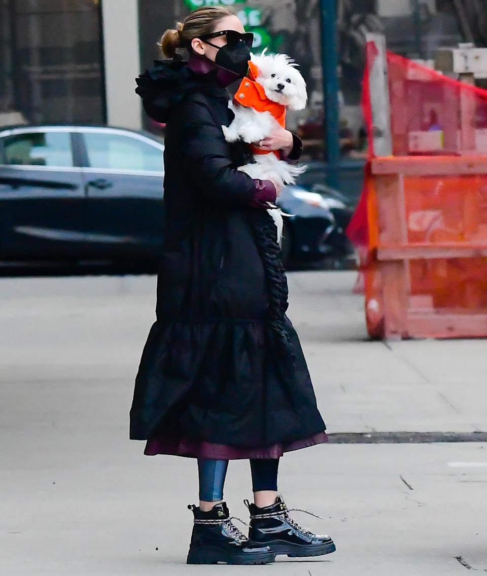 <p>Olivia Palermo and her adorable pup brave the cold on Monday in N.Y.C. to go for a walk.</p>