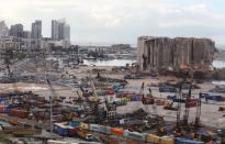 A view shows the site of the Aug. 4 explosion at Beirut port, in Beirut