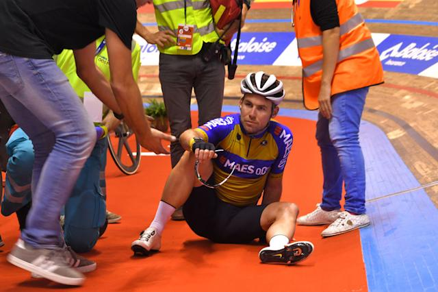 GENT BELGIUM NOVEMBER 12 Mark Cavendish of The United Kingdon and Team The Wolfpack Maes 00 Crash during the 79th 6 Days Gent 2019 Day 1 Track Kuipke Track Velodrome zesdaagsegent ghent6day on November 12 2019 in Gent Belgium Photo by Luc ClaessenGetty Images