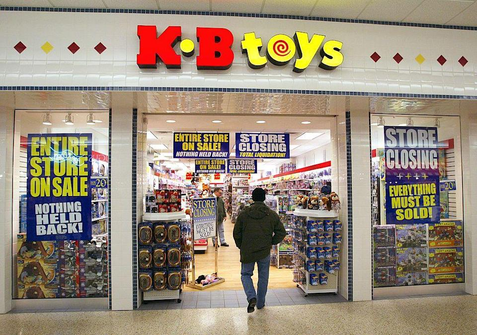 """<p>KB Toys was founded in 1922 in Pittsfield, Massachusetts. The epic toy store had 1,324 locations open as of 1999 and could be found in all 50 states. Despite its once booming success, KB Toys declared for bankruptcy twice, and closed all of its stores in 2009. Toys """"R"""" Us acquired the rights to its name during the same year.</p>"""