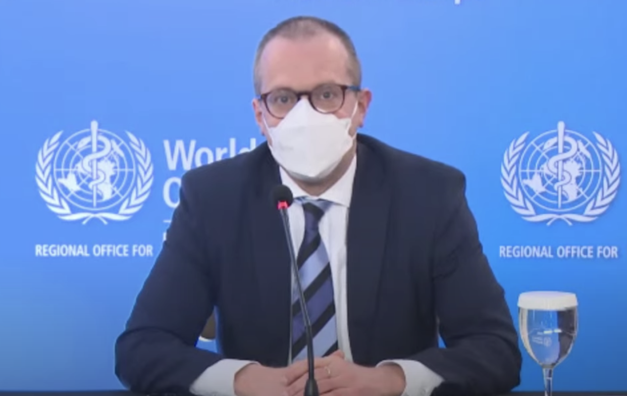 'Serious situation': Dr Hans Kluge at Thursday's briefing. (WHO Regional Office for Europe/YouTube)