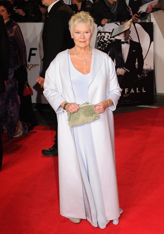 LONDON, ENGLAND - OCTOBER 23: Dame Judi Dench attends the Royal World Premiere of 'Skyfall' at the Royal Albert Hall on October 23, 2012 in London, England.  (Photo by Eamonn McCormack/Getty Images)