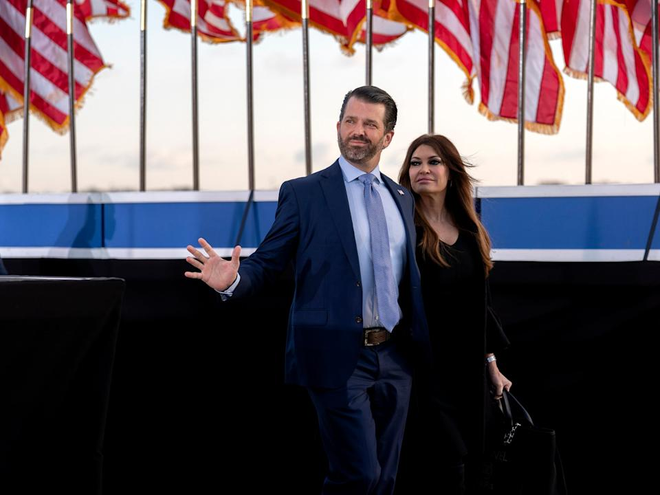 <p>Donald Trump Jr and girlfriend Kimberley Guilfoyle </p> (EPA)