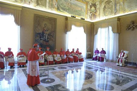 Pope Francis attends a consistory at the Vatican