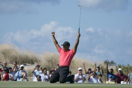 December 3, 2017; New Providence, The Bahamas; Tiger Woods celebrates after making his eagle putt on the seventh hole during the final round of the Hero World Challenge golf tournament at Albany. Mandatory Credit: Kyle Terada-USA TODAY Sports