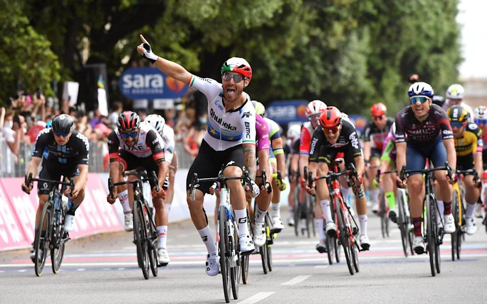 Giro d'Italia 2021: Giacomo Nizzolo ends long wait for maiden stage win as Egan Bernal retains pink jersey - REUTERS