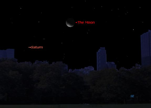 See Saturn, Moon and Star Form Cosmic Triangle Early Sunday
