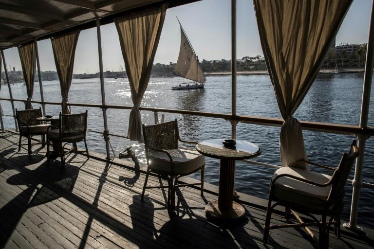 An Egyptian 'felucca' sailing boat on the Nile at Aswan; before the dam was built, Egypt was for millennia at the mercy of the seasonal rise and fall of the river