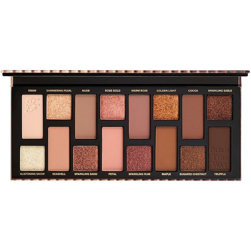 """For 2020, Too Faced is taking its all-inclusive approach to the Born This Way foundation shades and applying it to The Natural Nudes Eye Shadow Palette, a lineup of 16 neutral hues in pigmented matte and buttery metallic finishes. The brand claims this palette has """"the only nudes you'll ever need,"""" and we're inclined to believe it."""
